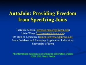 Auto Join Providing Freedom from Specifying Joins Terrence