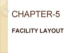 CHAPTER5 FACILITY LAYOUT INTRODUCTION Facility layout refers to