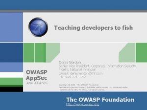 Teaching developers to fish OWASP App Sec June