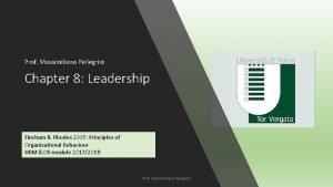 Prof Massimiliano Pellegrini Chapter 8 Leadership Fincham Rhodes