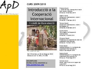Introducci a la Cooperaci Internacional Sessi 1 Lestat