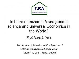 Is there a universal Management science and universal