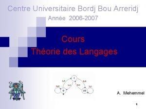 Centre Universitaire Bordj Bou Arreridj Anne 2006 2007
