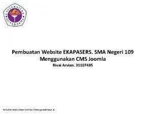 Pembuatan Website EKAPASERS SMA Negeri 109 Menggunakan CMS