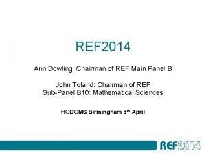 REF 2014 Ann Dowling Chairman of REF Main
