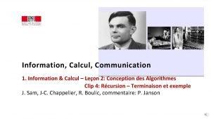 Information Calcul Communication 1 Information Calcul Leon 2