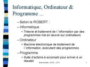 Informatique Ordinateur Programme Selon le ROBERT Informatique Thorie