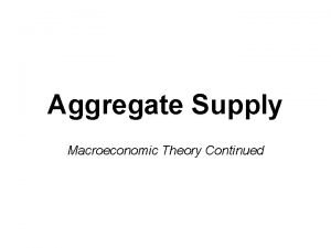 Aggregate Supply Macroeconomic Theory Continued Aggregate Supply Curve