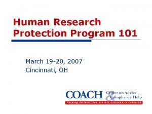Human Research Protection Program 101 March 19 20