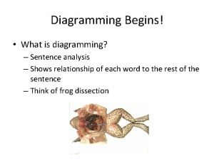 Diagramming Begins What is diagramming Sentence analysis Shows