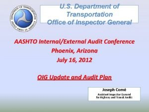 U S Department of Transportation Office of Inspector