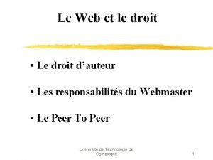 Le Web et le droit Le droit dauteur
