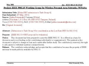 May 2001 doc IEEE 802 15 01231 r