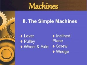 Machines II The Simple Machines Lever t Inclined