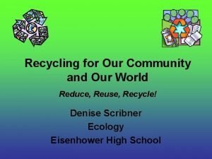 Recycling for Our Community and Our World Reduce