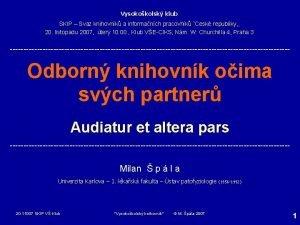 Vysokokolsk klub SKIP Svaz knihovnk a informanch pracovnk