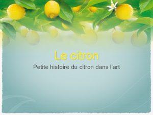 Le citron Petite histoire du citron dans lart