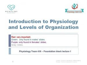 Introduction to Physiology and Levels of Organization Red
