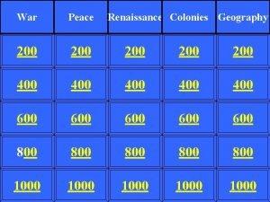 War Peace Renaissance Colonies Geography 200 200 200
