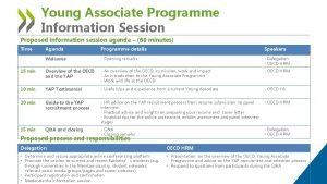 Young Associate Programme Information Session Proposed information session