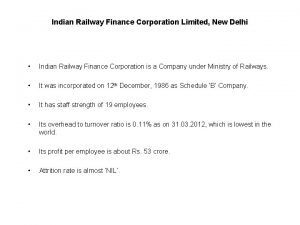 Indian Railway Finance Corporation Limited New Delhi Indian