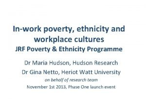 Inwork poverty ethnicity and workplace cultures JRF Poverty