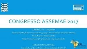 CONGRESSO ASSEMAE 2017 CONGRESSO 2017 CampinasSP Painel especial