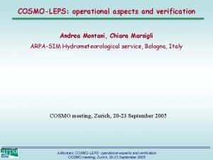 COSMOLEPS operational aspects and verification Andrea Montani Chiara
