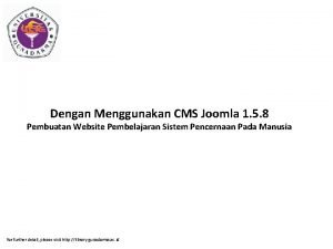 Dengan Menggunakan CMS Joomla 1 5 8 Pembuatan