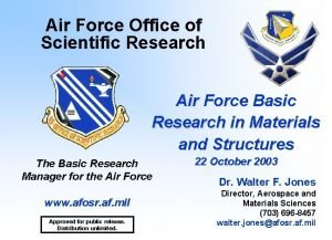 Air Force Office of Scientific Research Air Force