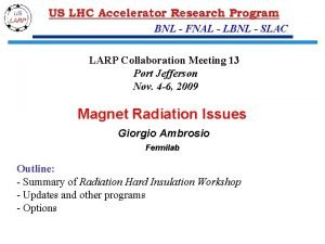 BNL FNAL LBNL SLAC LARP Collaboration Meeting 13
