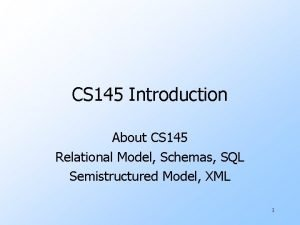 CS 145 Introduction About CS 145 Relational Model