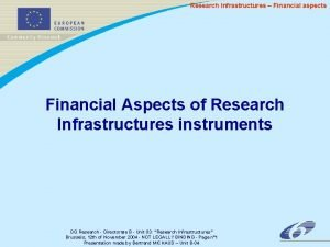 Research Infrastructures Financial aspects Financial Aspects of Research