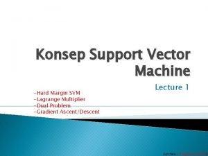 Konsep Support Vector Machine Hard Margin SVM Lagrange