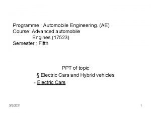 Programme Automobile Engineering AE Course Advanced automobile Engines