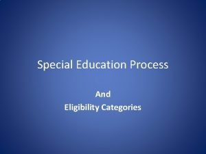 Special Education Process And Eligibility Categories Special Education