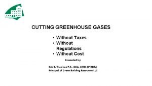 CUTTING GREENHOUSE GASES Without Taxes Without Regulations Without
