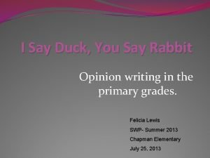 I Say Duck You Say Rabbit Opinion writing