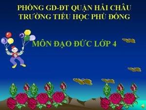 PHNG GDT QUN HI CH U TRNG TIU