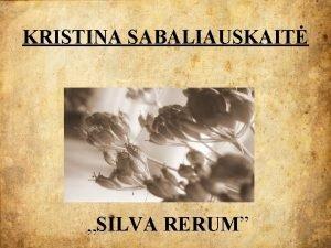 KRISTINA SABALIAUSKAIT SILVA RERUM Kristina Sabaliauskait garsi urnalist