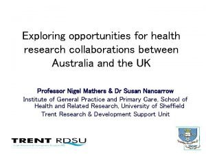 Exploring opportunities for health research collaborations between Australia