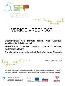VERIGE VREDNOSTI Uvodniarka Nina Barbara Krinik GZS Zbornica