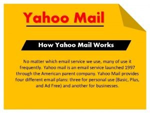 Yahoo Mail How Yahoo Mail Works No matter