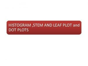 HISTOGRAM STEM AND LEAF PLOT and DOT PLOTS