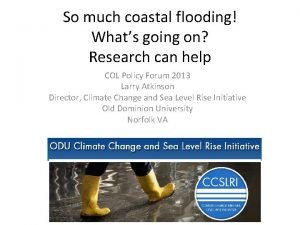 So much coastal flooding Whats going on Research