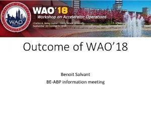 Outcome of WAO 18 Benoit Salvant BEABP information