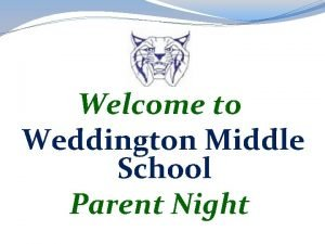 Welcome to Weddington Middle School Parent Night Daily