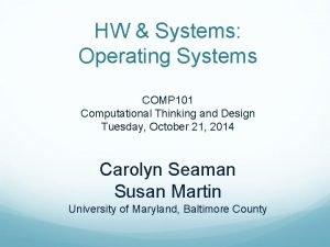 HW Systems Operating Systems COMP 101 Computational Thinking