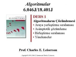 Algoritmalar 6 046 J18 401 J DERS 1