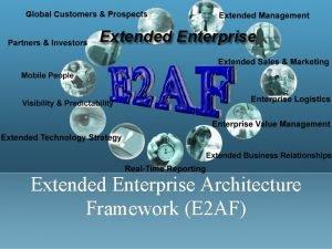 Extended Enterprise Architecture Framework E 2 AF Agenda